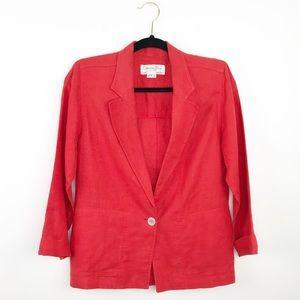 Vintage Christian Dior red linen blazer jacket